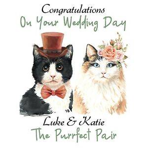 PERSONALISED CUTE CATS WEDDING DAY CARD - PURRFECT PAIR -BRIDE & GROOM, MR & MRS