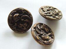 3 beaux boutons art nouveau anciens. Antique french buttons. fleurs couture