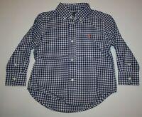 New Ralph Lauren Boys Polo Blue White Check Button Down Dress Shirt Top 2T NWT
