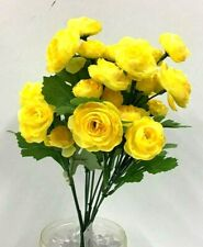 """Ranunculus Flower Bush~Yellow~Silk/Artificial~14"""" Tall."""