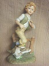 Vintage Hand Painted Lefton - Running Blonde Boy & Spotted Dog #02350