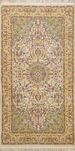 Floral Bird Design Ivory Agra Oriental Area Rug Wool Handmade Foyer Carpet 3x5