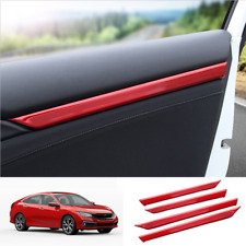 Red Stainless steel Interior Door Decor Trim For Honda Civic 2016-2020