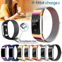 For Fitbit Charge 2 Stainless Steel Magnet / Silicone Strap Milanese Wrist Band