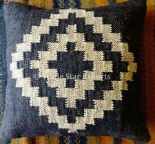 Indian Handwoven Kelim Cushion Cover 18x18 Decorative Jute Square Pillow Cases