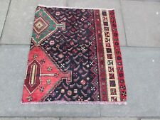 Vintage Fragment Traditional Hand Made Oriental Wool Blue Red Pink Rug 91x83cm