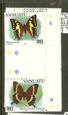 VANUATU (B1901)  BUTTERFLY SC346-8 GUTTER PAIRS   MNH