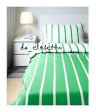 IKEA Twin Duvet Cover Pillowcase for single bed Tuvbracka Green White Striped