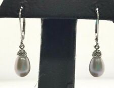 14K White Gold White - Gray Briolette Pearl Diamond Accent Drop Dangle Earrings