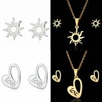 Lovely Trendy Love Stainless Steel Earring Necklace Set Jewelry Gift Gold/Silver
