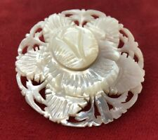Vintage Brooch Pin Shell Carved Flower White