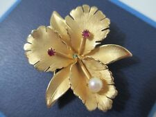 Freshwater Pearl Ruby 12KGF Iris Flower Brooch Pin Signed BB (Binder Brothers)