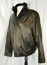 New Andrew Marc Men's Leather Jacket Sz XL Rabbit Fur Lined Full Zip Black $1095