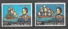 Bateaux Djibouti (86) série complète de 2 timbres oblitérés