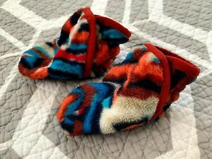 Patagonia Blue and Orange Fleece Baby Booties Size 3-6 M