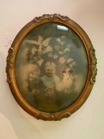 Antique Large Oval Gesso on Wood Ornate Picture Frame with Convex Glass