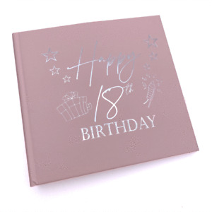 18th Birthday Gift For Her Pink Photo Album With Silver Present Script