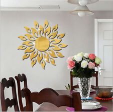 3D Sunflower Mirror Acrylic Foral Sticker Home Decal Home Wall Decor Sticker UK