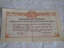 Vintage share certificate Stock bonds banque de France Defense bond 1915 WW1