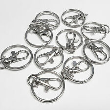 10 x SWIVEL CLIP KEYRING SPLIT RING CLASP LOBSTER TRIGGER FINDINGS JEWELLERY KEY