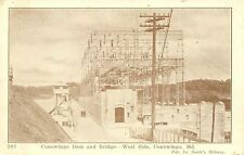 Conowingo Maryland~West Side Dam & Bridge~Power Lines~1920s Car~B&W Postcard