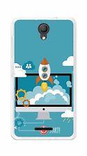 "FUNDA de GEL TPU para ALCATEL PIXI 4 (5"") 3G diseño COHETE Dibujos"