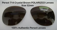 PERSOL PO 714 Sunglasses Replacment (2457) POLARIZED Brown Lenses Size 52 New