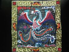 Square Chinese antique royal black phoenix machinemade embroidery 22938