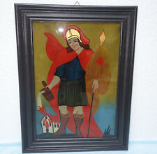 Hl. Florian, Hinterglasbild, Hinterglasmalerei - von Hand gemalt