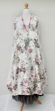 LAGENLOOK LINEN OVERSIZED FLORAL 2 POCKETS LONG DRESS**WHITE** XL-XXL BUST 52-54