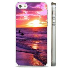 Pink Purple Sunrise Beach Surfing CLEAR PHONE CASE COVER fits iPHONE 5 6 7 8 X