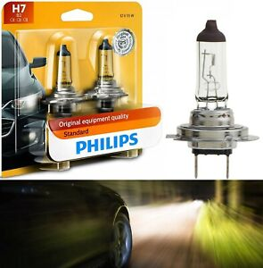 Philips Standard H7 55W Two Bulbs Head Light Low Beam Replacement Lamp Stock Fit
