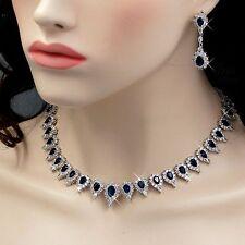 18K White Gold GP Sapphire Zirconia CZ Necklace Earrings Wedding Jewelry Set 834