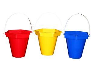3 PLASTIC BEACH BUCKETS 1 ea RED,BLUE & YELLOW  WEDDING CENTERPIECE MFG USA*