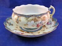 EXQUISITE TEA CUP AND SAUCER - HAS MAKERS MARK - SEE PHOTO - UNUSUAL SHAPE