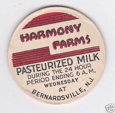 MILK BOTTLE CAP. HARMONY FARMS. BERNARDSVILLE, NJ. DAIRY
