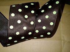 Brown & Mint Polka Dot Spot Ribbon, Bows, 50s rockabilly bows 1m  3 for 2 OFFER