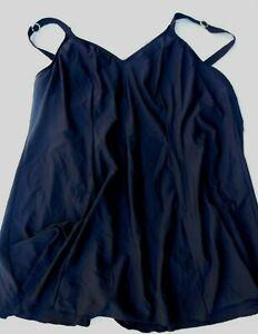 CHRISTINA Women's Black Bathing Suit Swimsuit Swim Dress rhinestone accents  26