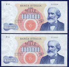 ITALIA, 1964 1000 LIRE BANCONOTA, COPPIA consecutivi (rif. b0309)