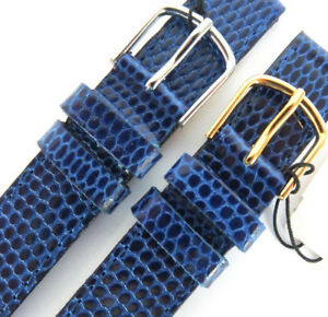 CABOUCHON 14mm BLUE LIZARD GRAIN LEATHER WATCH STRAP. GOLD OR SILVER BUCKLE.PICK