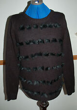 NEW Sz 12 Black chunky Jumper Fluffy Strips On Front Knitted Jacket Xmas gift