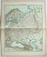 Large Original 1898 Map of European Russia by Velhagen & Klasing. Antique