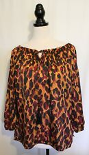 JANE LAMERTON ~ Gold Yellow Burgundy Black Leopard Print Satin Peasant Blouse 12