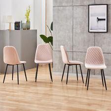 4Pcs Modern Dining Chair Velvet Leisure Seat Backrest Dining Room Home Pink New