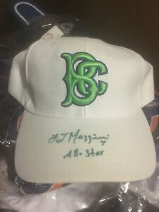 Signed Brooklyn Cyclones L.J. Mazzilli White Baseball Hat Ball Cap Green NY Mets
