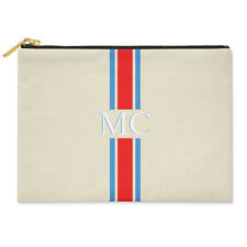 PERSONALISED MONOGRAMMED INITIALS BLUE RED STRIPED CANVAS CLUTCH BAG POUCH