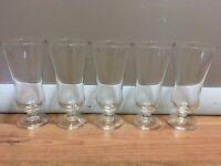 """4+1 5 Parfait Glasses CLEAR Dessert Cups Sundae 5 3/4"""" Stemmed Goblet VINTAGE"""