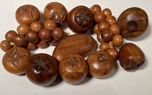 Vintage Wooden Fruit Decor Lot Of 12 Hardwood