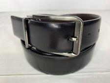 PERRY ELLIS Brown Black Reversible Genuine Leather Casual Belt Sz 34