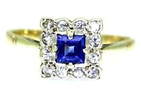 Art Deco Ceylon Sapphire Cluster 9ct Yellow Gold Platinum Ring size M 1/2 ~6 1/2